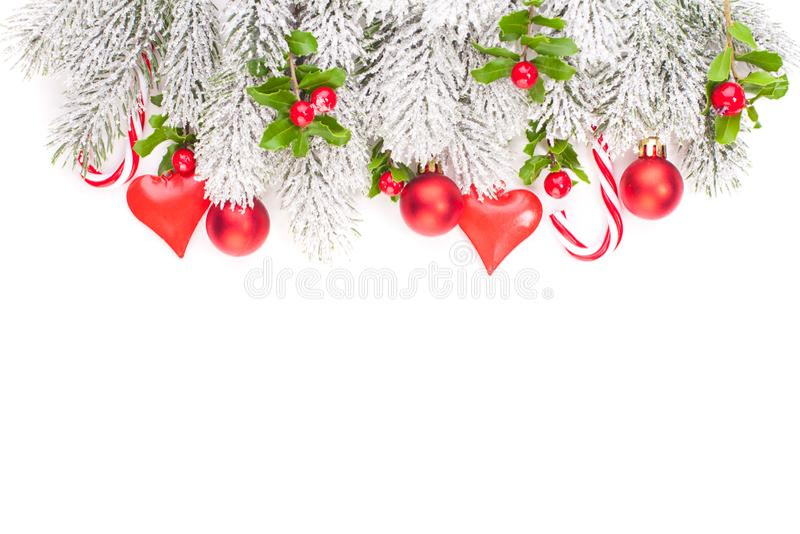 Christmas border isolated. Xmas winter decor.  royalty free stock photo