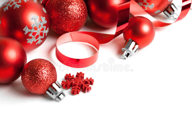 Christmas border with ornament. Christmas border with red ornament. Studio shot stock photos