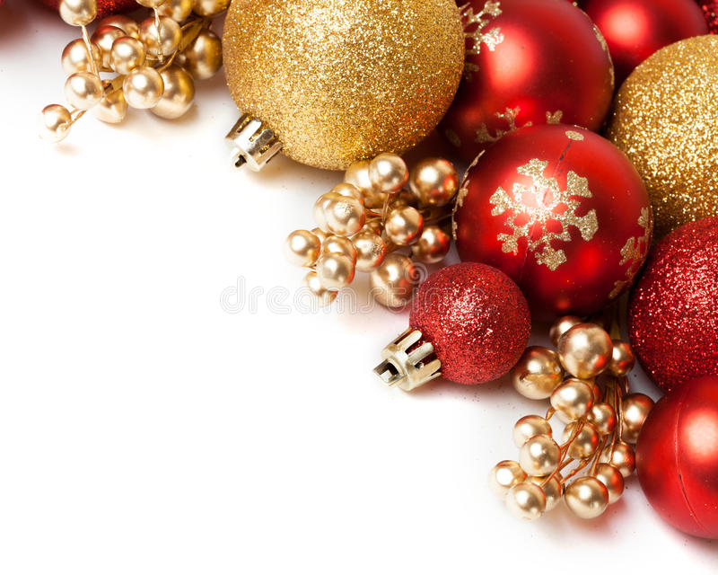 Christmas border with ornament. Christmas border with red ornament. Studio shot stock images