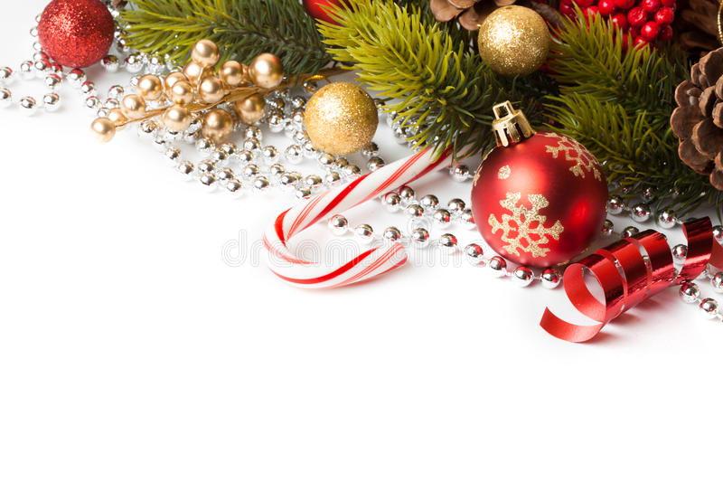 Christmas border with ornament. Christmas border with red ornament. Studio shot stock photo