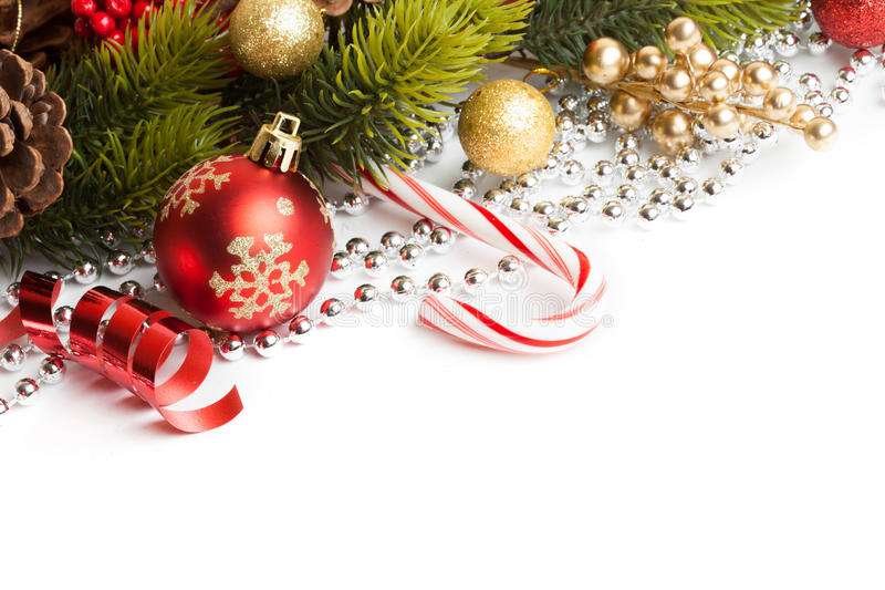Christmas border with ornament. Christmas border with red ornament. Studio shot royalty free stock image