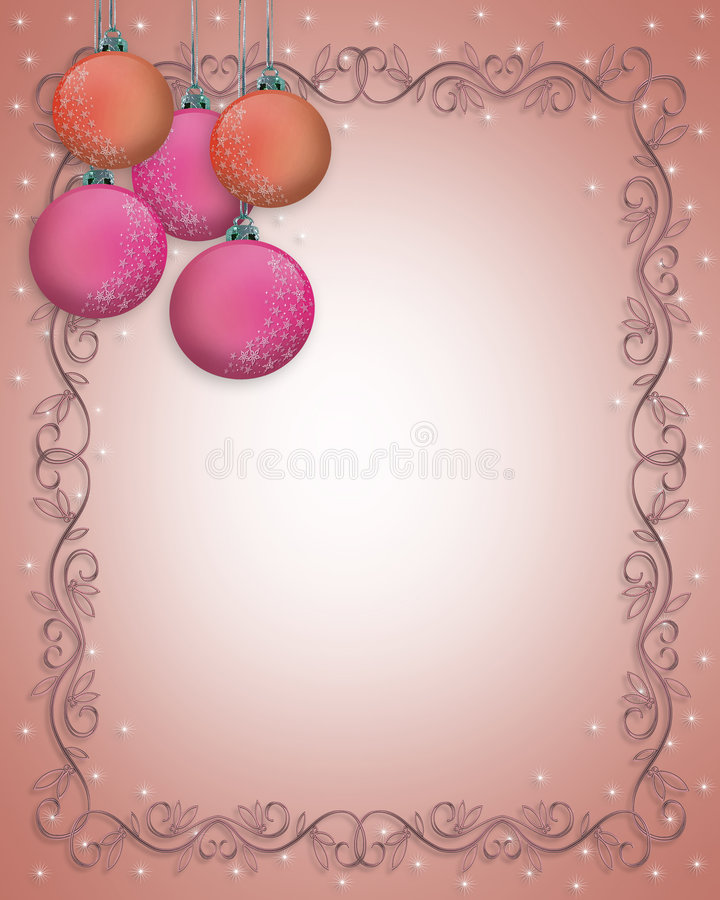 Download Christmas Border Ornaments Pink Stock Illustration - Image: 7259316