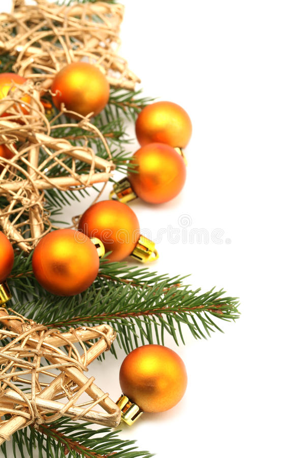 Christmas border with ornaments and stars royalty free stock photography