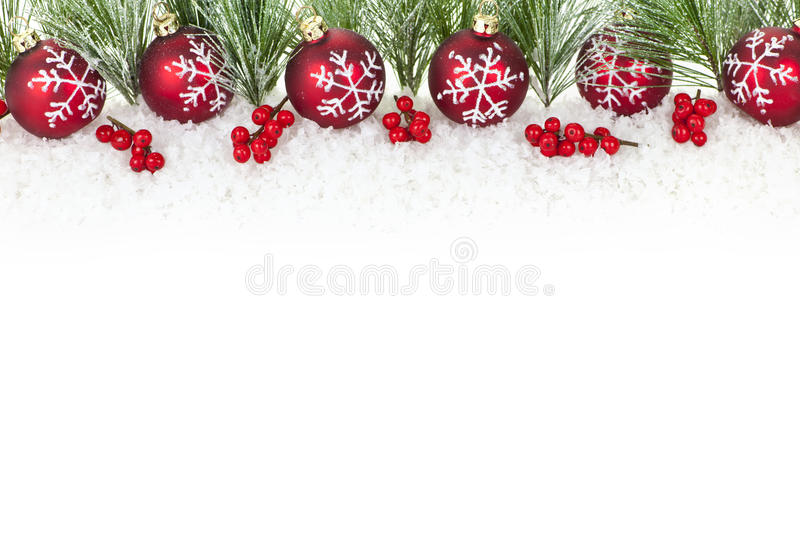 Christmas border with red ornaments royalty free stock photos