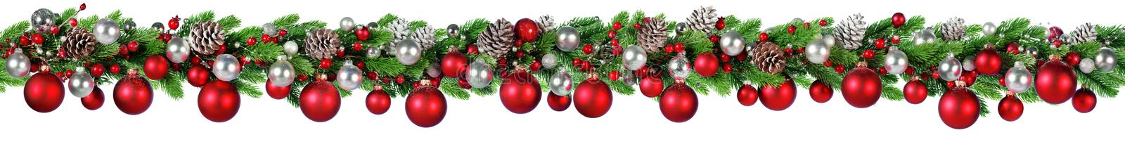 Christmas Border - Red And Silver Ball Hanging royalty free stock photos