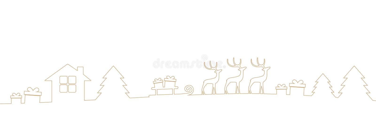 Christmas border with reindeers gifts and firs isolated on white background stock illustration