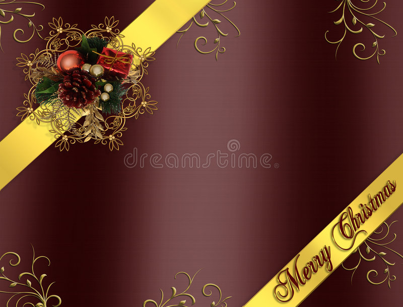 Christmas Border Ribbons burgundy