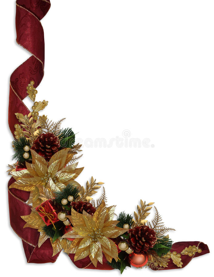 Christmas Border Ribbons Gold Poinsettias Stock Photography