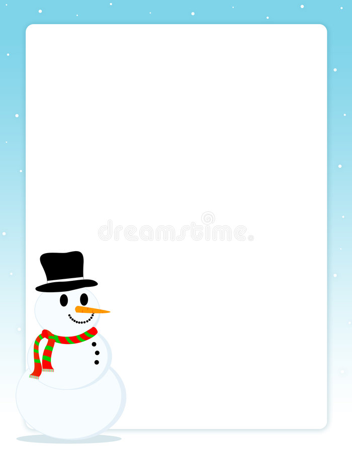 Download Christmas Border With Snowman Stock Illustration - Illustration: 6420007