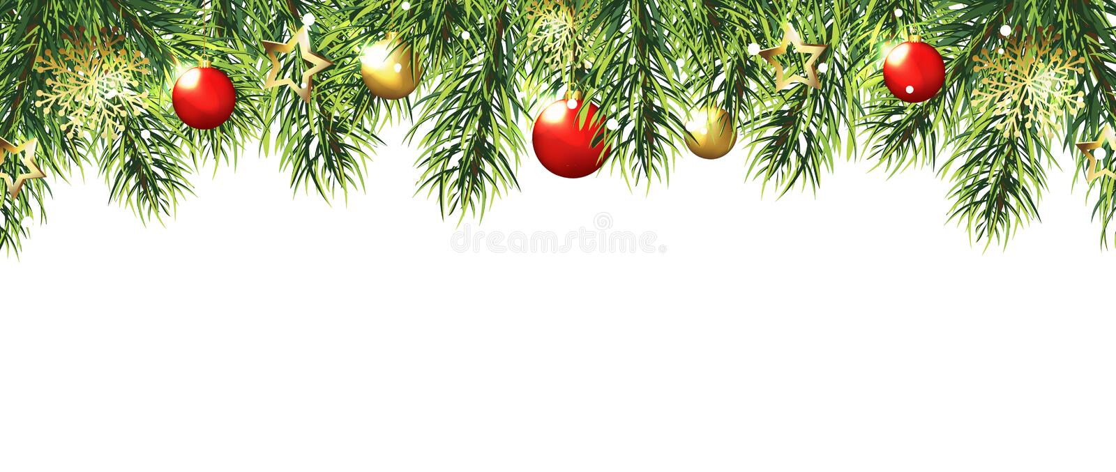 Christmas border with trees, red and gold balls and stars isolated on white background. vector illustration