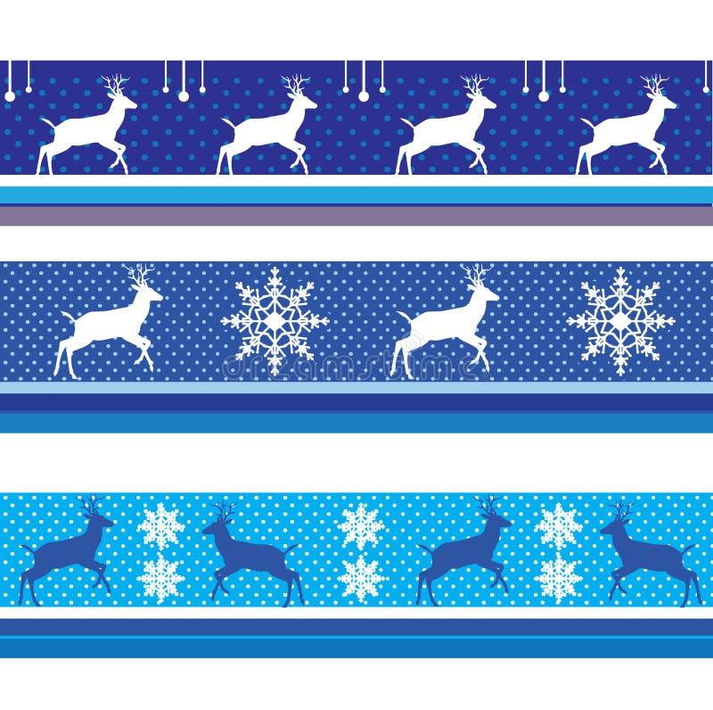 CHRISTMAS Reindeer BORDER VECTOR BLUE. CHRISTMAS BORDER VECTOR PACK BLUE 2019. Artistic, Vector - Reindeer snowflakes Border. Decorative Nordic ornament. Winter vector illustration