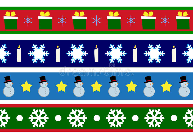 Christmas borders. A clip art illustration featuring your choice of three different Christmas themed banners or borders for decorative use stock illustration