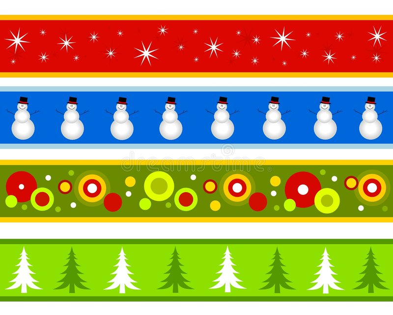 Christmas Borders or Banners. A clip art illustration featuring your choice of 4 different Christmas themed banners or borders for decorative use. Snowflakes stock illustration