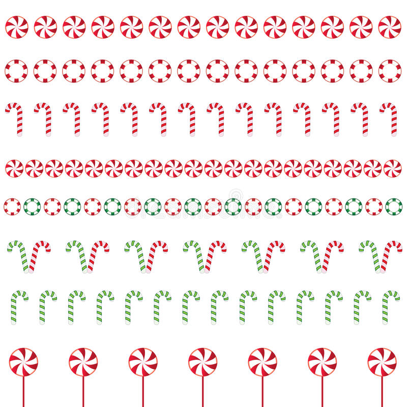 Christmas borders. Made of different type of candys stock illustration