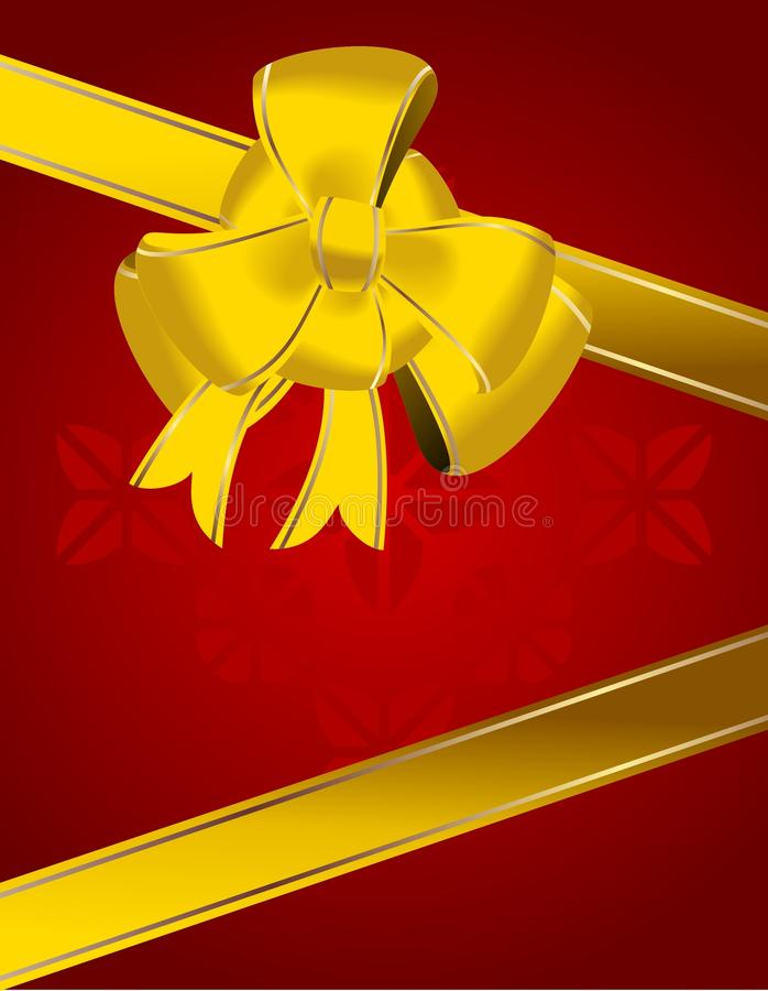 Christmas bow decoration on red. Background. vector stock illustration