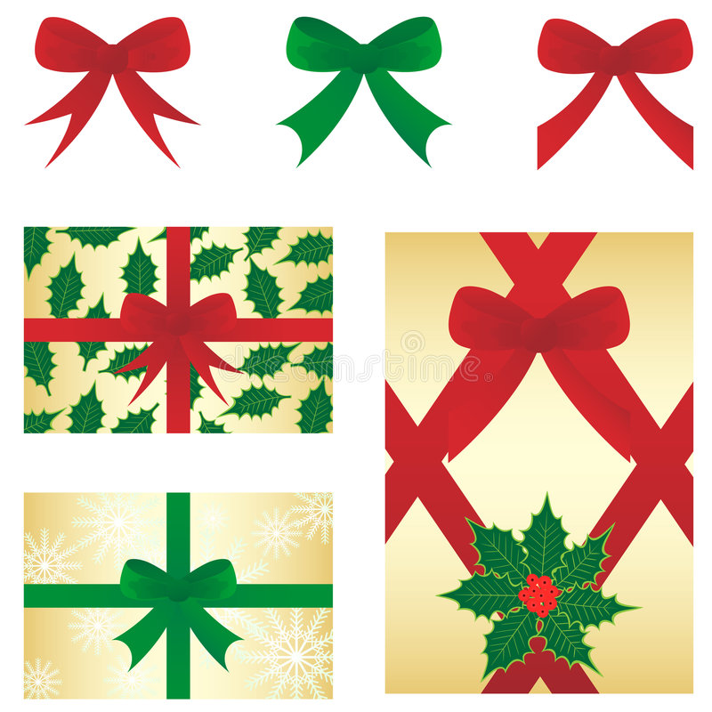 Christmas bow&gift stock images