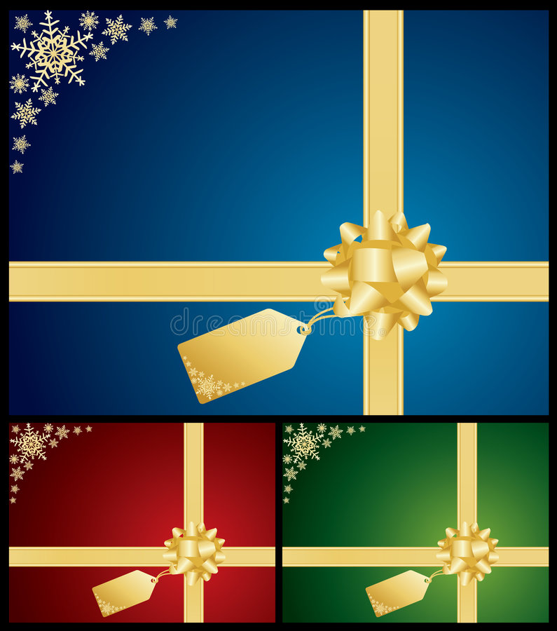 Christmas Bow And Gift Card Backgrounds Royalty Free Stock Image