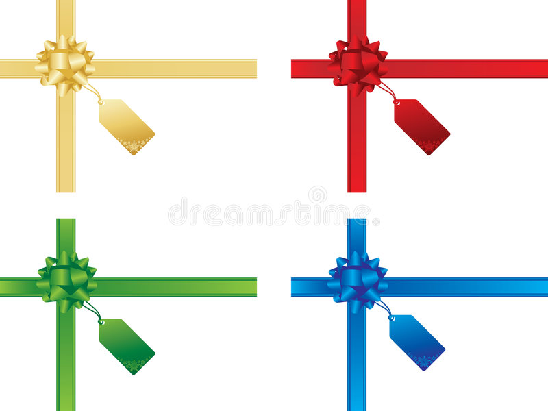 Christmas bows and gift cards stock illustration