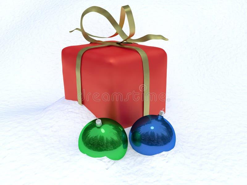 Christmas box and christmas decorations stock images