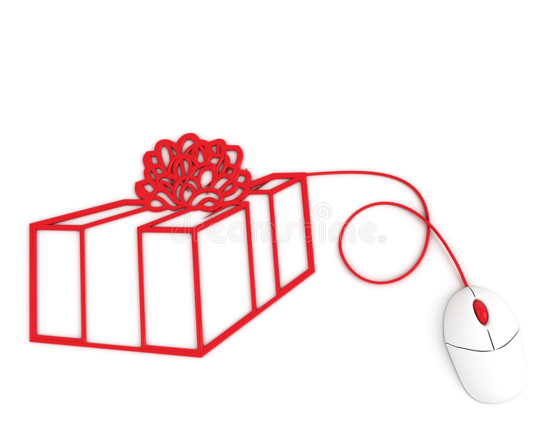 Download Christmas Box Depicted With Computer Mouse Cable Stock Illustration - Image: 7504174