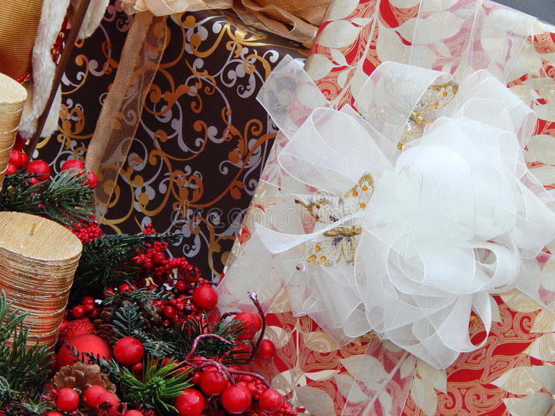 Christmas boxes as a background. The shot was made at the International Specialized Trade Fairs GIFTS EXPO. AUTUMN 2014 stock photos