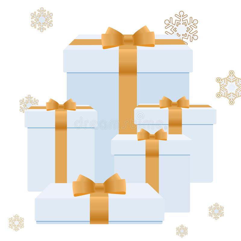 Christmas boxes with gifts. Gold snowflakes on a white background stock photo
