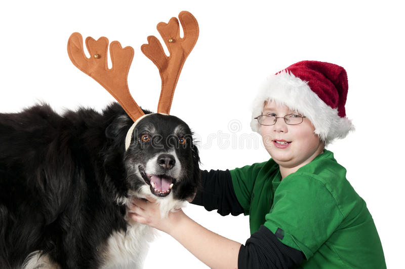 Download A Christmas Boy And His Reindeer Dog Stock Image - Image: 17606467