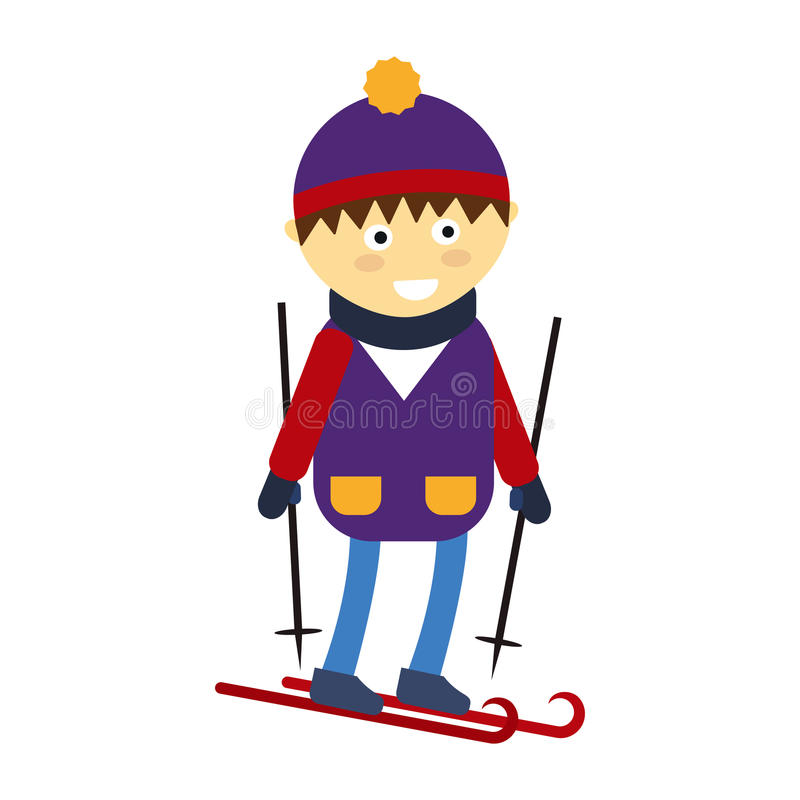 Christmas boy playing winter game happy leisure kid character vector illustration. Cartoon new year holidays funny lifestyle. Skiing down person extreme royalty free illustration