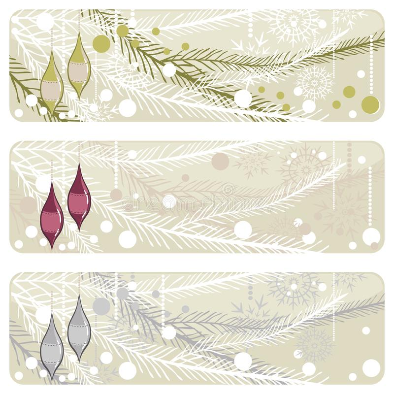 Christmas branch with glossy glass balls banner stock illustration