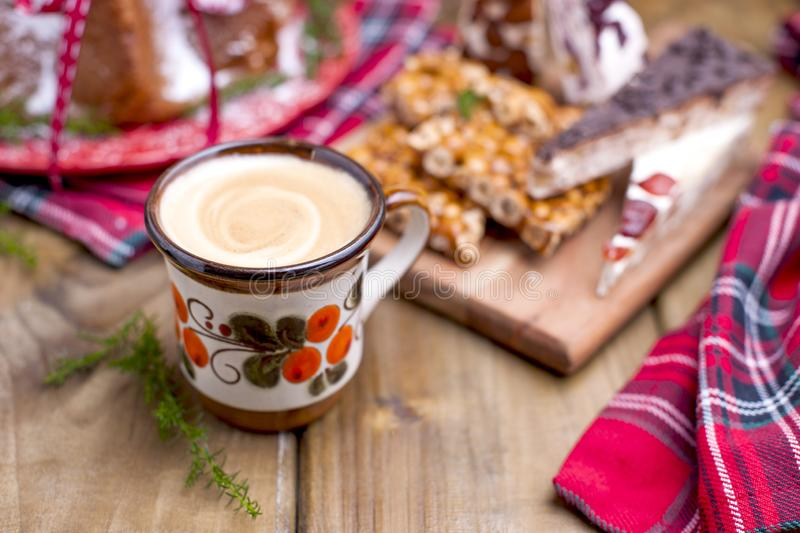 Christmas bread for a festive breakfast. on a wooden background royalty free stock photos