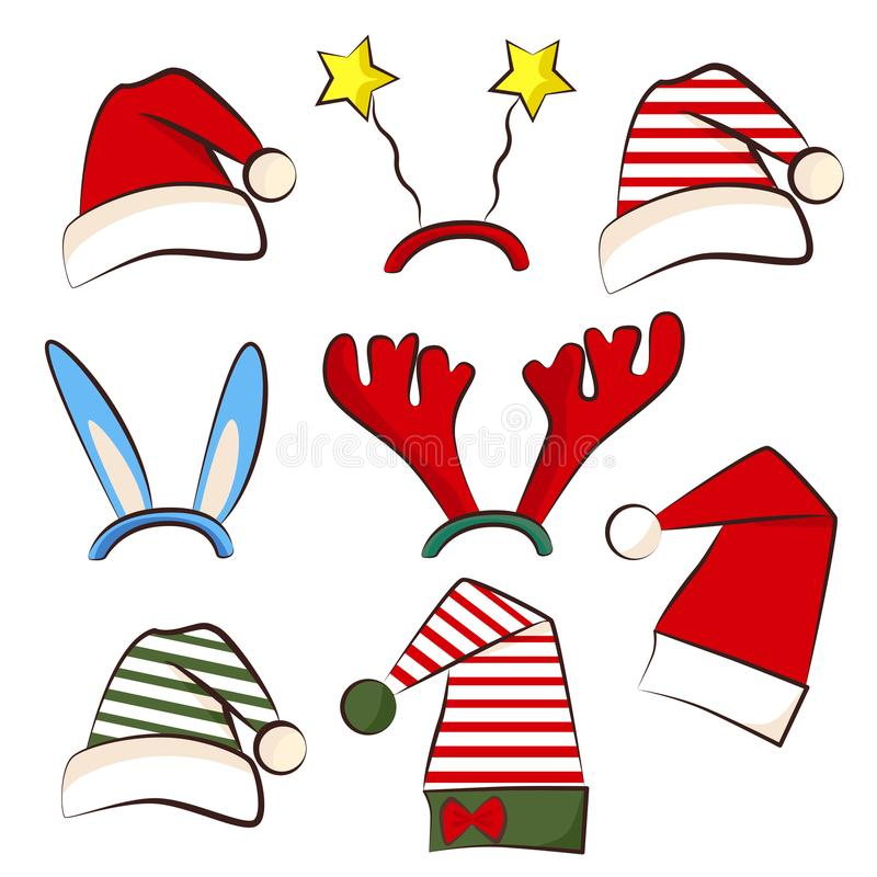 Christmas bright party hat. Set for photo booth xmas party. Antler, star and star hat. Traditional santa and elf hats vector illustration