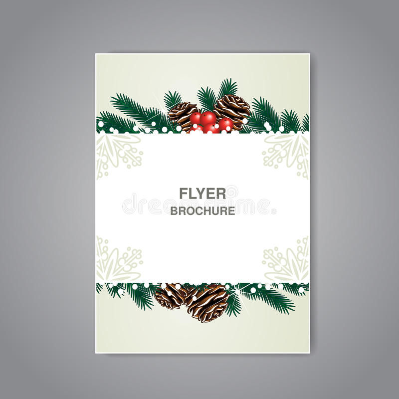 Christmas brochure with twigs, cones and snow, beige flyer or book design, poster, layout template, Christmas cards, New Year card vector illustration