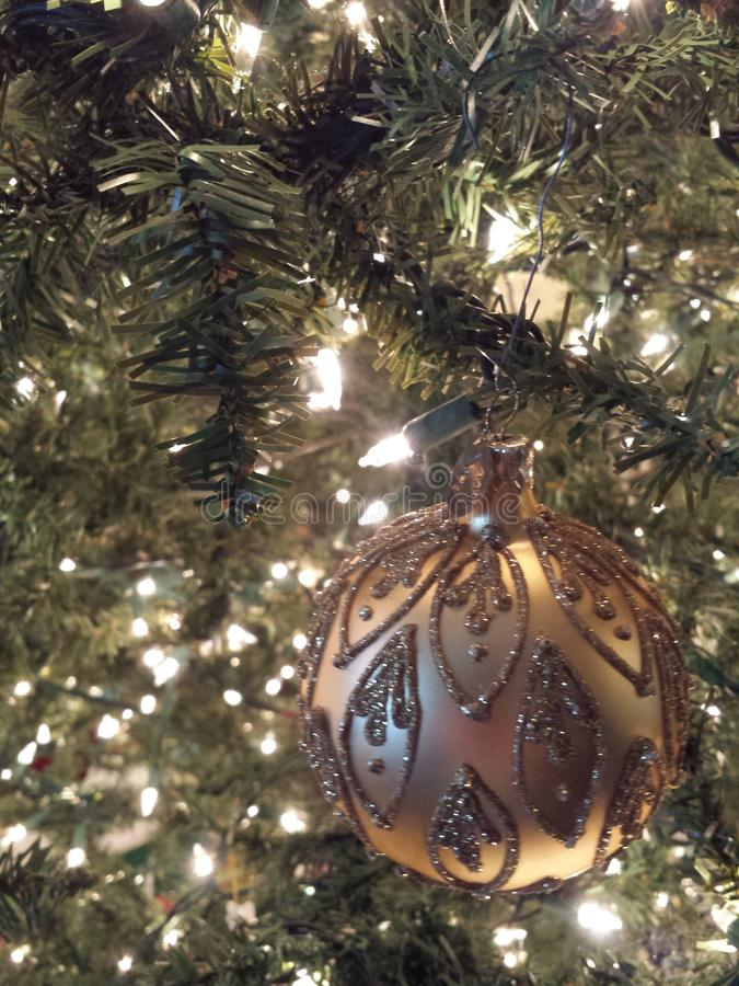 Christmas bulb on a lighted tree royalty free stock images
