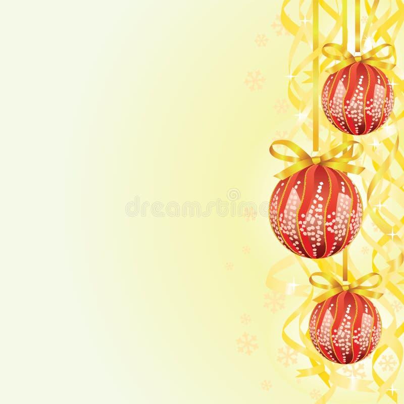 Christmas bulb and ribbon background vector illustration