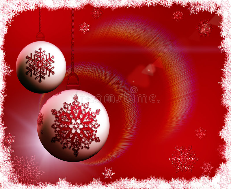Download Christmas Bulbs On Red Background With Snowflakes Stock Illustration - Illustration of border, celebrate: 7318772