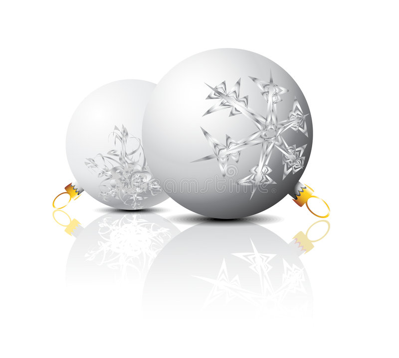 Christmas Bulbs With Snow Royalty Free Stock Photos