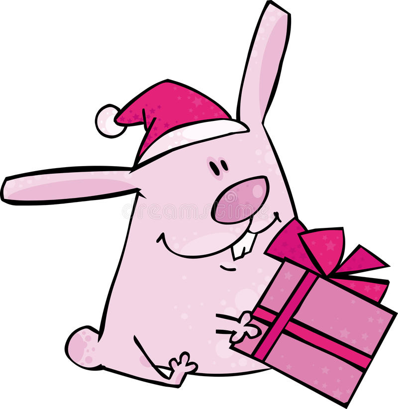 Download Christmas bunny stock vector. Illustration of pink, holiday - 11994673