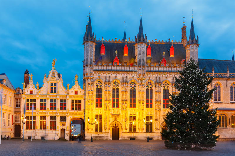Christmas Burg Square in Bruges. Scenic cityscape with the picturesque night medieval Christmas Burg Square in Bruges, Belgium stock photography