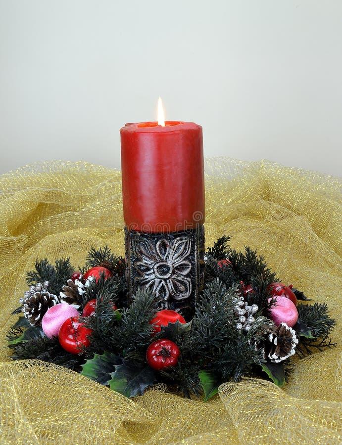 Christmas burning candle stock photography