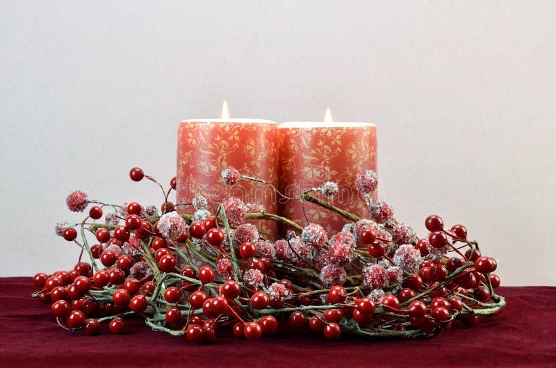 Christmas burning candles royalty free stock photo