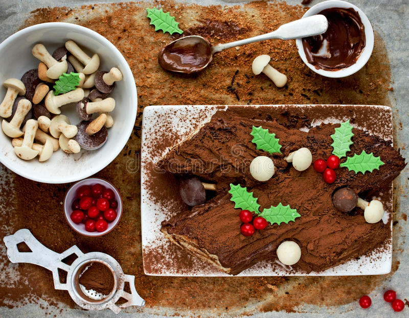 Christmas Bush de Noel - homemade chocolate yule log cake , Christmas and New Year traditional recipe. Christmas Bush de Noel - homemade chocolate yule log cake stock images