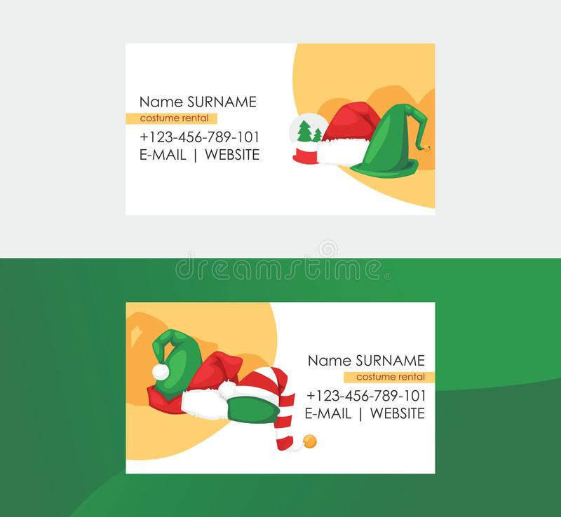 Christmas business cards set. Santa hat costume rental fo Christmas and New year vector illustration. Happy holidays royalty free illustration