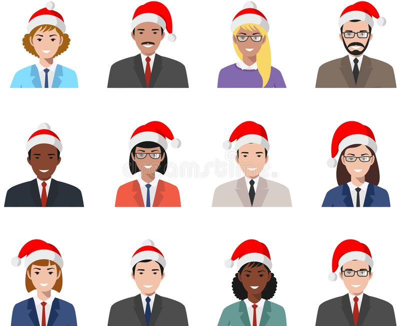 Christmas business team. Set of different colorful people flat style icons isolated on white background: businessman and stock illustration