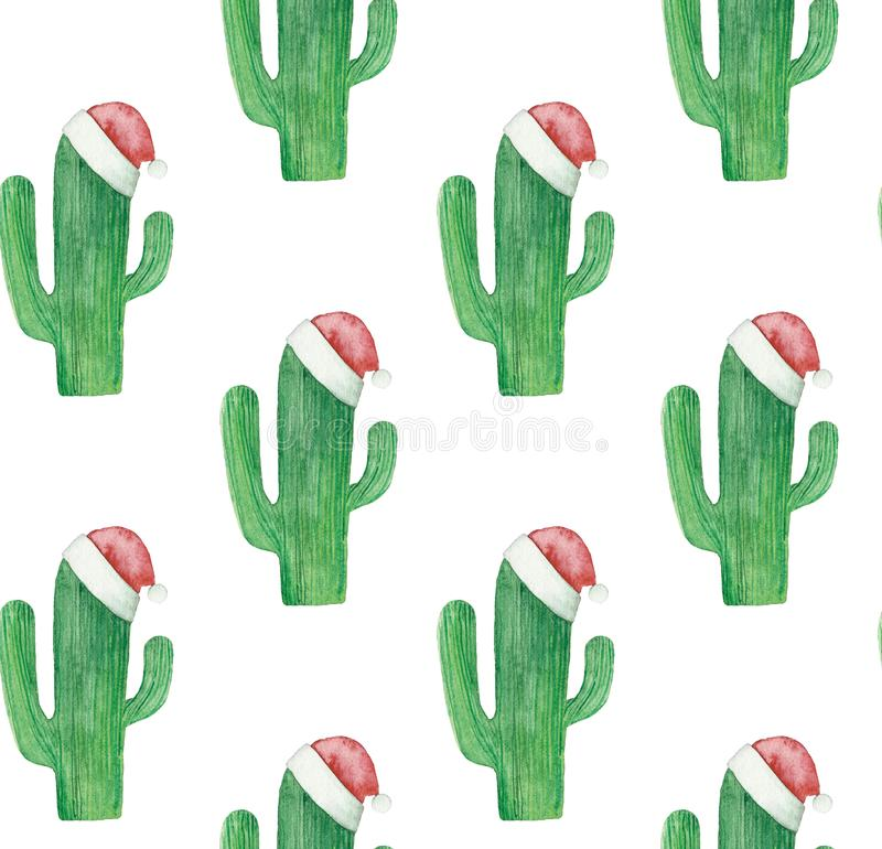 Christmas cactus pattern. Green cacti background stock illustration