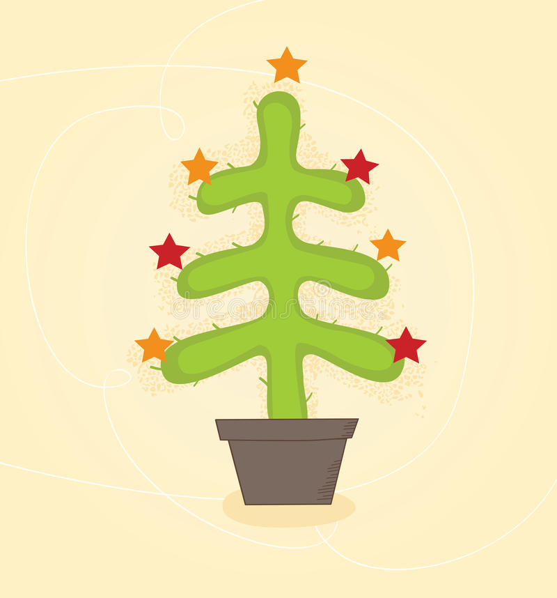 Christmas cactus tree vector illustration