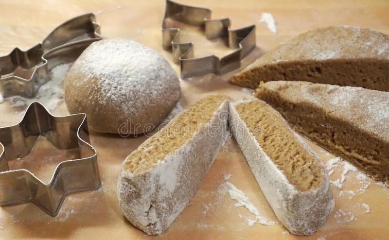 Christmas cake baking accessories and dough prepared for baking. Christmas cake baking and pastry accessories and homemade dough prepared for baking royalty free stock photos