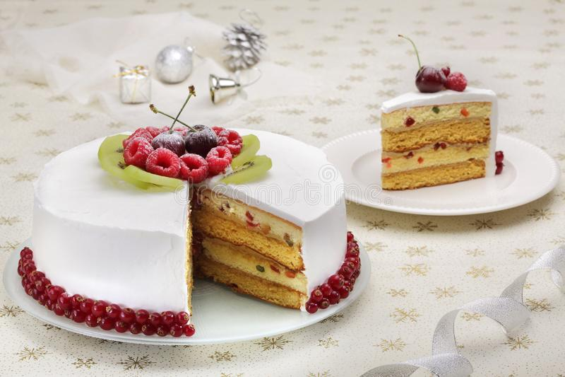 Christmas cake with berries stock photo