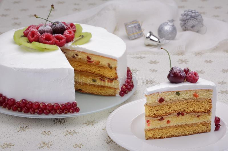 Christmas cake with berries royalty free stock images