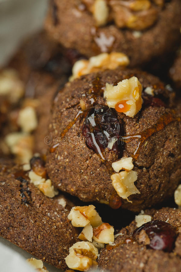 Christmas cake. Chocolata cake with nuts and honey royalty free stock photography