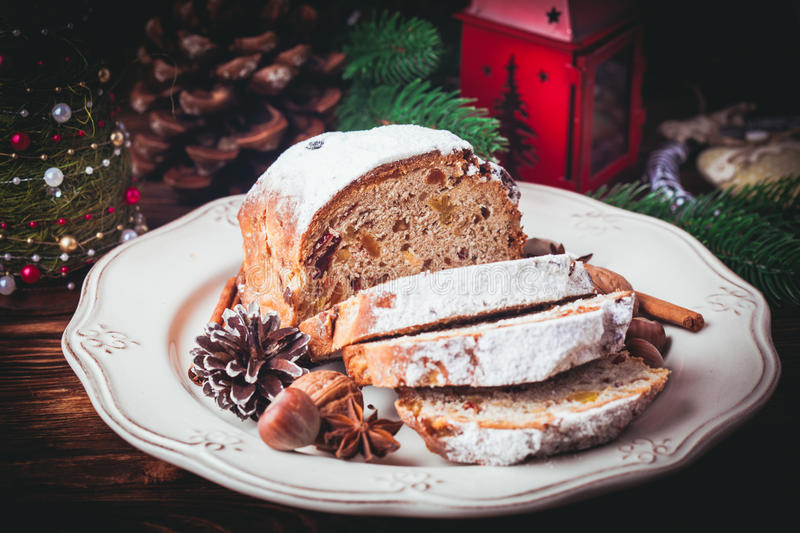 Christmas cake - Stollen royalty free stock images